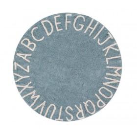 Round ABC Vintage Blue-Natural skalbiamas kilimas