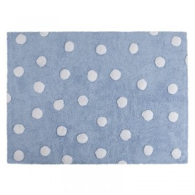 Polka Dots skalbiamas kilimas Blue-White