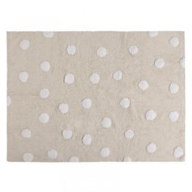 Polka Dots skalbiamas kilimas Beige-White