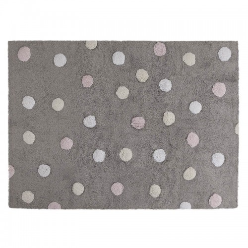 Polka Dots skalbiamas kilimas Tricolor Grey-Pink